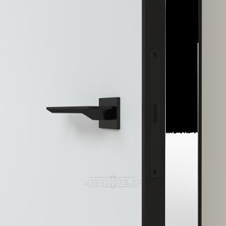 LINEA RETTA MRDA010 под покраску с черной алюминиевой кромкой открывание IN короб алюминиевый черный