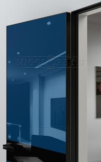 GLOSS 11 G Глянец, RAL 5010, алюминиевая черная кромка и черный алюминиевый  короб, вставка - эмаль