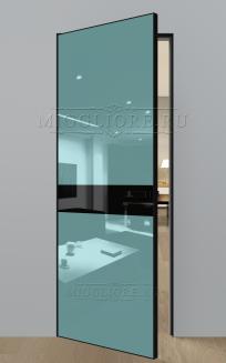 GLOSS 11 G Глянец, RAL 6034, алюминиевая черная кромка и черный алюминиевый  короб, вставка - эмаль