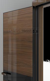 GLOSS 11 G Глянец, шпон американского ореха нетонированный, алюминиевая черная кромка и черный алюминиевый  короб, вставка - эмаль