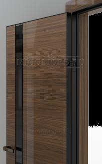 GLOSS 21-F V Глянец, шпон американского ореха нетонированный, алюминиевая черная кромка и черный алюминиевый  короб