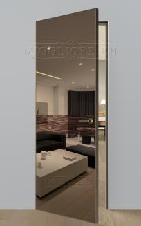 VETRO MMR03 алюминиевая кромка-Шампань, алюминиевый короб-Шампань, V-зеркало-Бронза, дизайнерский шпон Орех декор высокий глянец