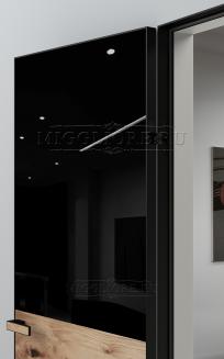 VETRO MMR03 алюминиевая черная кромка, алюминиевый черный короб, V-лакобель черный, Лофт-шпон Дуб Ретро