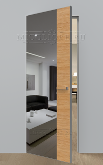 VETRO MMR04 алюминиевая кромка, алюминиевый короб, V-зеркало-Серебро, Шпон дуба тон-11