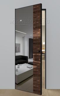 VETRO MMR04 алюминиевая черная кромка, алюминиевый черный короб, V-зеркало-Серебро, дизайнерский шпон Орех декор высокий глянец