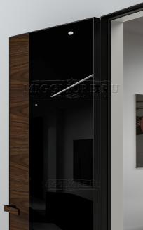 VETRO MMR04 алюминиевая черная кромка, алюминиевый черный короб, V-лакобель черный, Шпон американского ореха нетонированный