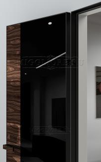 VETRO MMR04 алюминиевая черная кромка, алюминиевый черный короб, V-лакобель черный, дизайнерский шпон Орех декор высокий глянец